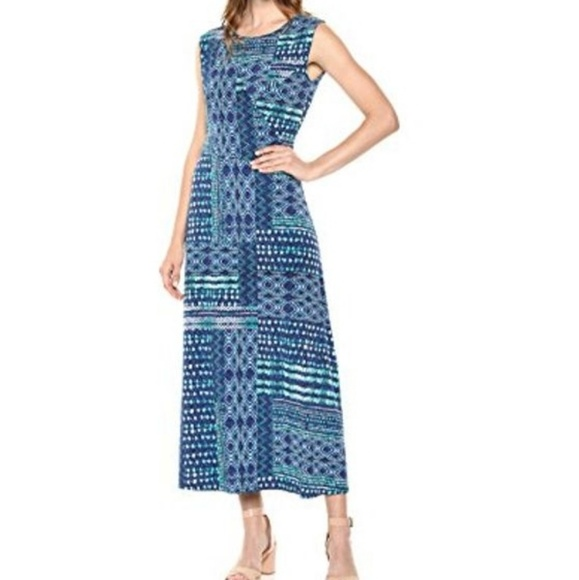 Chaus Dresses & Skirts - ** Chaus Ruched Patchwork Shibori Cap Sleeve Dress